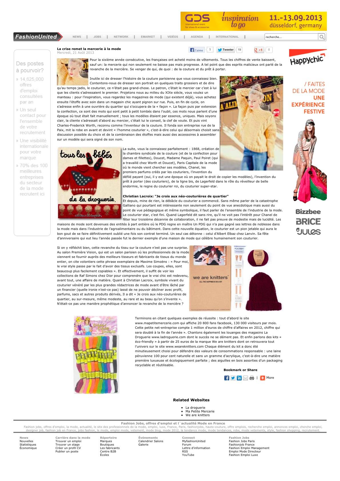 MA PETITE MERCERIE dans FashionUnited, août13